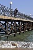 Op de oude brug Royalty-vrije Stock Foto