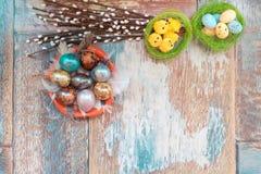 Op de oude houten lijst is een plaat van gekleurde paaseieren van kwartels en kip met gekleurd kant, en wilg Stock Foto's