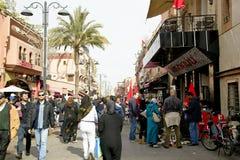 Op de smalle straten van oude Medina in Marrakech Stock Foto