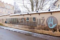 Op de straat van de Republiek van Uzupis Stock Foto