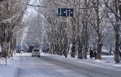 Op de straten van Sloviansk na sneeuwval Stock Foto's
