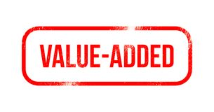 Op de toegevoegde waarde - rood grungerubber, zegel royalty-vrije illustratie