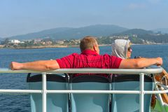 Op de veerboot aan Cangas Stock Afbeeldingen