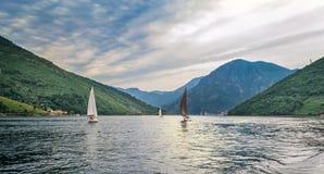 Op de veerboot in Kotor-Baai Montenegro Royalty-vrije Stock Fotografie