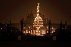 Op de vooravond van de Dag van de Republiek, goed aangestoken Rashtrapati Bhavan royalty-vrije stock foto's