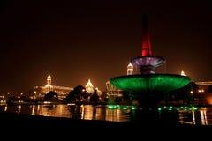 Op de vooravond van de Dag van de Republiek, goed aangestoken Rashtrapati Bhavan stock fotografie