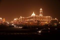 Op de vooravond van de Dag van de Republiek, goed aangestoken Rashtrapati Bhavan stock foto's