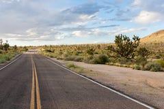 Op de weg in het Nationale Domein van Mojave stock afbeeldingen