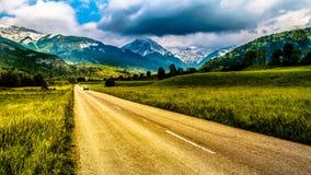 Op de weg van massif des bauges Stock Foto