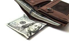 $ 100 op de witte achtergrond en portefeuillebeelden, Royalty-vrije Stock Afbeelding