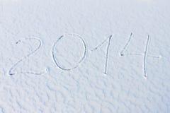 2014 op de sneeuw voor het nieuwe jaar en Kerstmis Stock Foto's