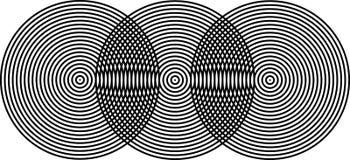 Op de Zwarte van Superposing Bullseyes van de Kunst op Zwarte stock illustratie