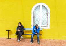 Op een bank - Pena-Paleis Royalty-vrije Stock Foto