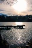 Op een Bevroren Meer Stock Fotografie