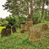 Op een heuvel in Tsjechische Republiek een Joodse begraafplaats Royalty-vrije Stock Foto's