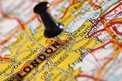 Op een kaart Londen Royalty-vrije Stock Foto