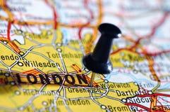 Op een kaart Londen. Royalty-vrije Stock Afbeelding