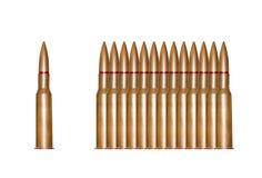 Op een rij geïsoleerde geweerkogels Stock Fotografie