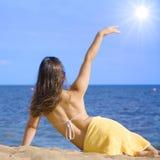 Op een strand Royalty-vrije Stock Foto's