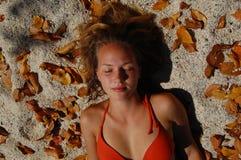 Op een tropisch strand Royalty-vrije Stock Foto