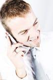 Op een Veelbelovend Gesprek Bedrijfs van de Telefoon Royalty-vrije Stock Foto
