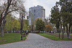 Op een verlaten steeg in een park op de waterkant in Kharkiv Royalty-vrije Stock Afbeeldingen