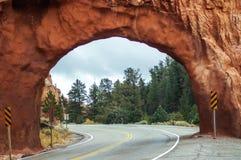 Op een weg aan de Bryce-canion, Utah, de V.S. Stock Foto's
