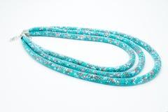 Op een wit ligt de achtergrond een halsband op de hals met een blauwe gem Stock Afbeelding