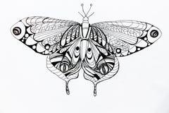 Op een witte achtergrond is de geschilderde zwarte gelpen een zeer mooie vlinder royalty-vrije illustratie