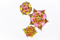 Op een witte achtergrond worden de zeer mooie, heldere en ongebruikelijke bloemen vertegenwoordigd vector illustratie