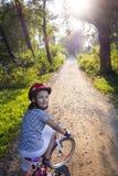 Op fiets Stock Fotografie
