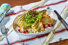 Op gelei gezette kip met paddestoelen ingelegd het restaurantmenu van de komkommersla Stock Afbeelding