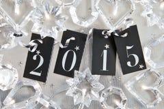 2015 op glanzende achtergrond Stock Afbeelding