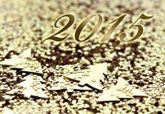 2015 op gouden achtergrond Royalty-vrije Stock Foto's
