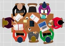 Op groene achtergrond Het bedrijfswerk, bureau en werkplaats, werknemersmens Stock Afbeelding