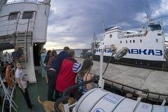 Op het dek van de veerboot Royalty-vrije Stock Foto's