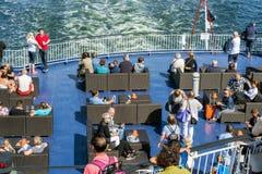 Op het dek van het schip Stock Fotografie