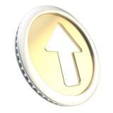 Op het embleem van het pijlpictogram als gouden muntstukteken Stock Fotografie