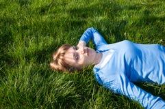 Op het gras Stock Foto