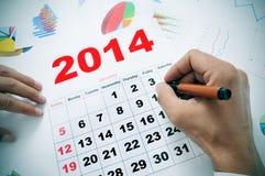 Op het kantoor met een kalender van 2014 Stock Fotografie