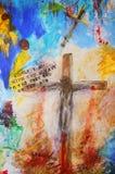 Op het kruis Stock Foto's