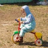 Op het land op de gekleurde driewieler Royalty-vrije Stock Foto's