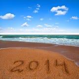 2014 op het overzeese strand Royalty-vrije Stock Foto