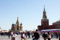 Op het rood kan het vierkant in Moskou vóór 9 - Overwinningsdag Royalty-vrije Stock Foto's