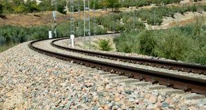 Op het spoorwegspoor Stock Foto