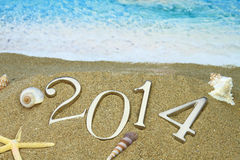 2014 op het strand Royalty-vrije Stock Foto's
