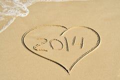 2014 op het strand Stock Foto's