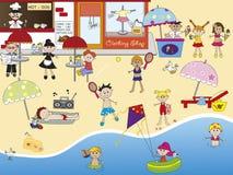 Op het strand stock illustratie