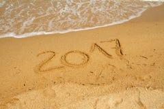2017 op het strand Stock Afbeelding