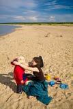 Op het strand na de regen Stock Foto's